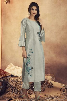 Soft Art Silk Readymade Kurti In Steel Grey Paired With Bottom