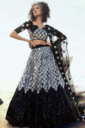 Soft Net Black Color Stylist Lehenga Choli For Sangeet Function