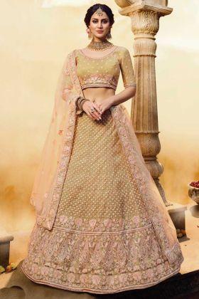 Soft Net Gota Silk Golden Color Heavy Bridal Lehenga Choli