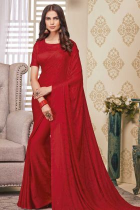 Soft Satin Beautiful Red Color Saree For Karwa Chauth