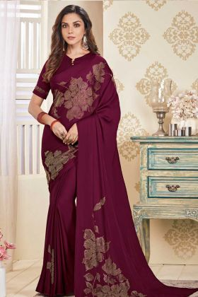 Soft Satin Wine Color Saree For Party Wear