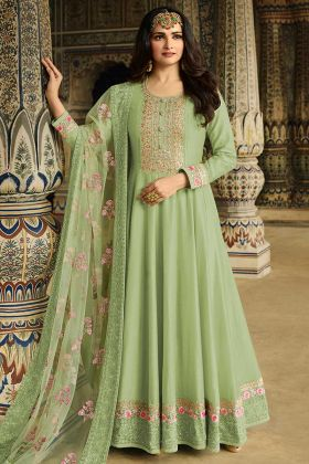 Soft Silk Light Green Floor Length Anarkali Salwar Suit