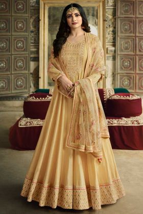 Soft Silk Light Yellow Long Anarkali Dress