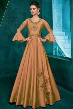 Soft Art Silk Beige Party Wear Gown