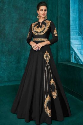 Soft Art Silk Black Gown With Thread Embroidery Work