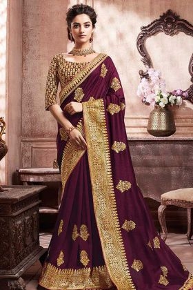 Soft Art Silk Designer Saree Jari Work In Wine Color
