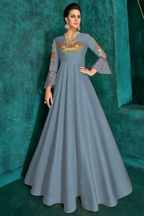 Soft Art Silk Festival Gown Steel Blue Color With Resham Embroidery Work