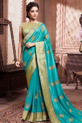 Soft Art Silk Festival Saree Blue Color With Weaving Work