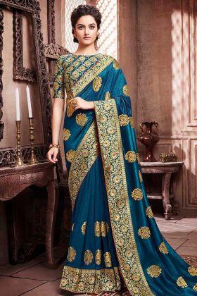 Soft Art Silk Festival Saree Colbalt Blue Color With Jari Work
