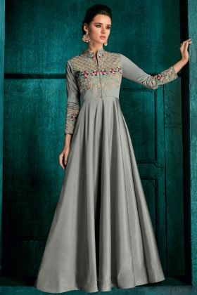 Soft Art Silk Grey Party Wear Gown