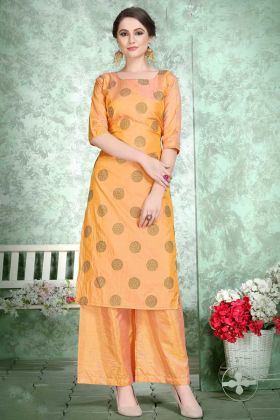 Soft Art Silk Palazzo Fancy Kurti Set Orange Color With Foil Print Work