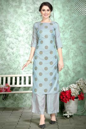 Soft Art Silk Palazzo Festival Kurti Set Foil Print Work In Grey Color