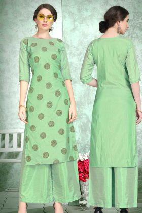 Soft Art Silk Palazzo Printed Kurti Set Foil Print Work In Green Color