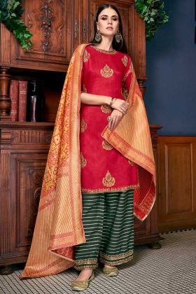 Soft Art Silk Palazzo Suit Red Color With Stone Work