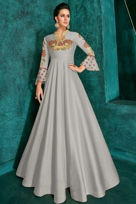 Soft Art Silk Party Wear Gown Grey Color With Zari Embroidery Work