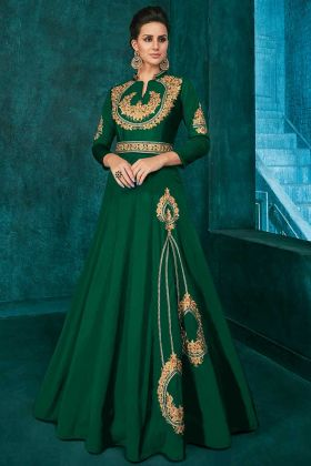 Soft Art Silk Party Wear Gown Thread Embroidery Work In Dark Green Color