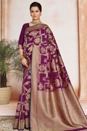 Soft Art Silk Party Wear Saree In Purple Color