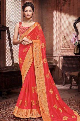 Soft Art Silk Party Wear Saree Jari Work In Orange Color