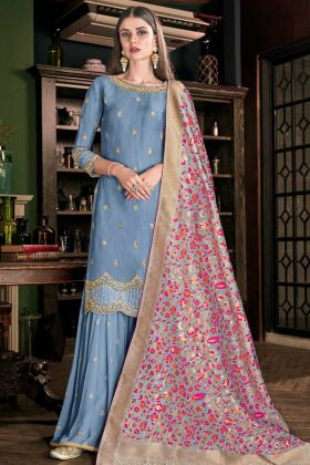 Soft Art Silk Sharara Dress Hand Work In Steel Blue Color