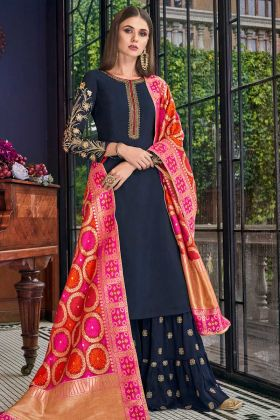 Soft Art Silk Sharara Suit Jari Embroidery Work In Navy Blue Color
