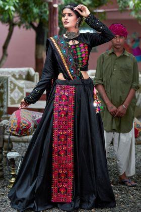 Soft Cotton Black Traditional Lehenga Choli