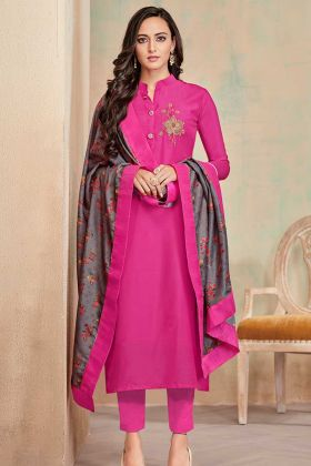 Soft Cotton Churidar Dress Rani Pink Color With Printed Work