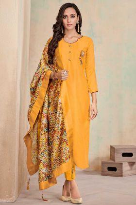 Soft Cotton Churidar Sakwar Kameez Musturd Yellow Color With Printed Work