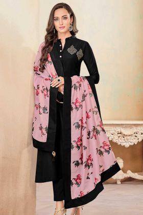 Soft Cotton Churidar Salwar Kameez Black Color With Printed Work