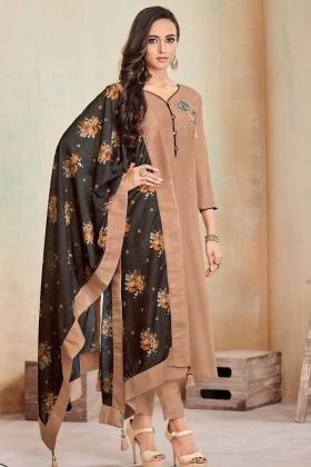 Soft Cotton Churidar Salwar Suit Beige Color With Printed Work