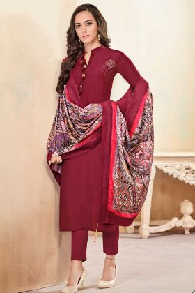 Soft Cotton Churidar Suit Maroon Color With Hand Work