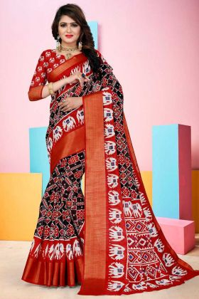 Soft Cotton Patan Patola Saree Black Color