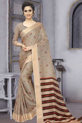 Soft Cotton Saree Beige Color With Printed Blouse