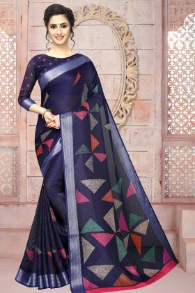 Soft Cotton Saree Navy Blue Color With Blouse