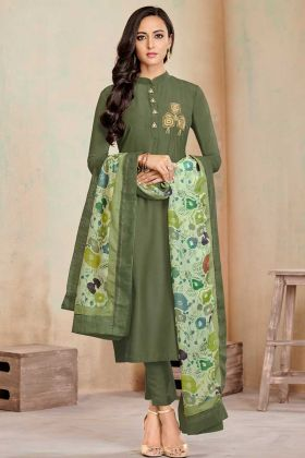 Soft Cotton Straight Dress Hand Work In Olive Green Color