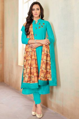 Soft Cotton Straight Salwar Kameez Hand Work In Turquoise Blue Color