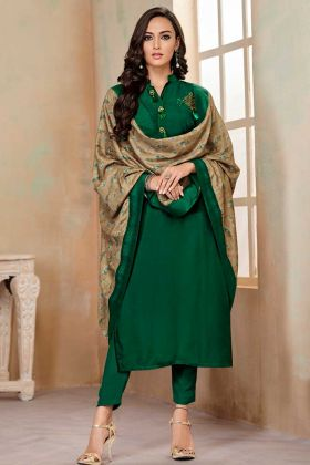 Soft Cotton Straight Salwar Suit Dark Green Color With Hand Work