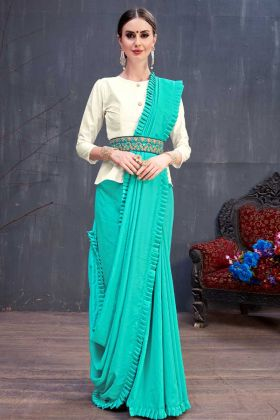 Soft Cotton Stylish Designer Saree Sky Blue Color With Fancy Blouse