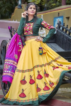 Soft Cotton Yellow Lehenga Choli Online