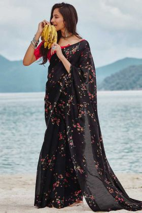 Soft Linen Casual Saree Black Color With Printed Work