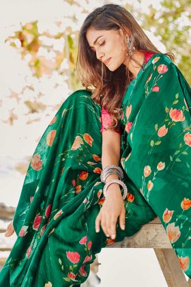 Soft Linen Green Saree With Printed Work