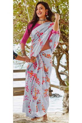 Soft Linen Printed Saree In Pale Grey Color