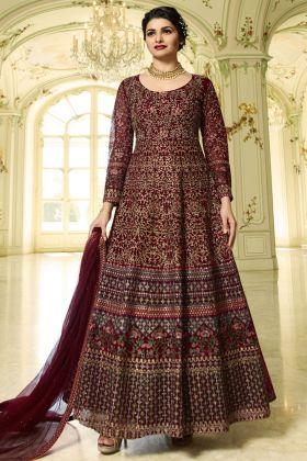 Soft Net Anarkali Dress Stone Work In Maroon Color