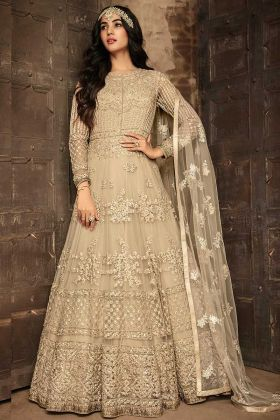 Soft Net Anarkali Salwar Kameez Beige Color With Embroidery Work