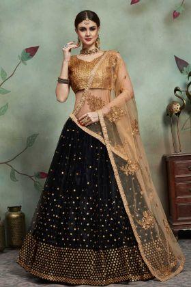 Soft Net Black Color Jari Embroidery Latest Wedding Lehenga Choli
