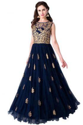 Soft Net Blue Wedding Gown