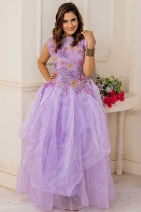 Soft Net Frill Gown Embroidery Work In Light Purple Color