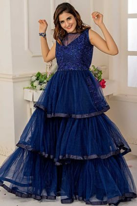 Soft Net Multi Layered Gown Embroidery Work In Navy Blue Color