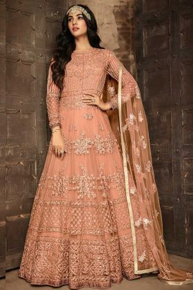 Soft Net Pakistani Dress Peach Color With Embroidery Work