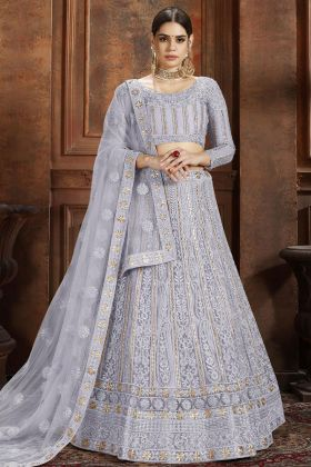 Soft Net Party Wear Lehenga Choli In Grey Color