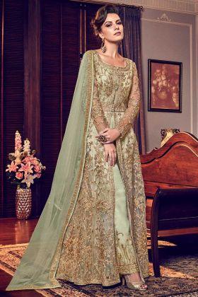 Soft Net Partywear Embroidered Work Green Anarkali Dress
